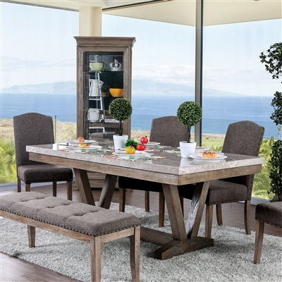 Stunning Genuine Marble 6-Piece Dining Set