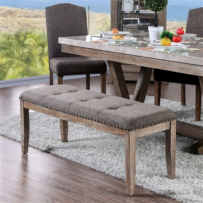 Bridgen Brown Upholstered Dining Bench