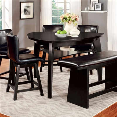 Modern 6 Piece Black Finish Counter Height Dining Set
