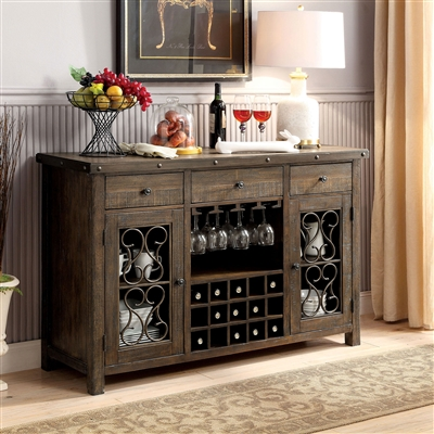 Rustic Walnut Finish Server with Wine Storage