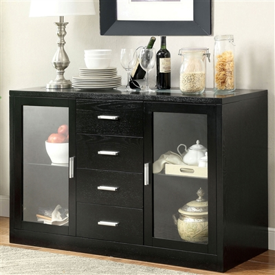 Black Finish Dining Server with Built in LED Lights