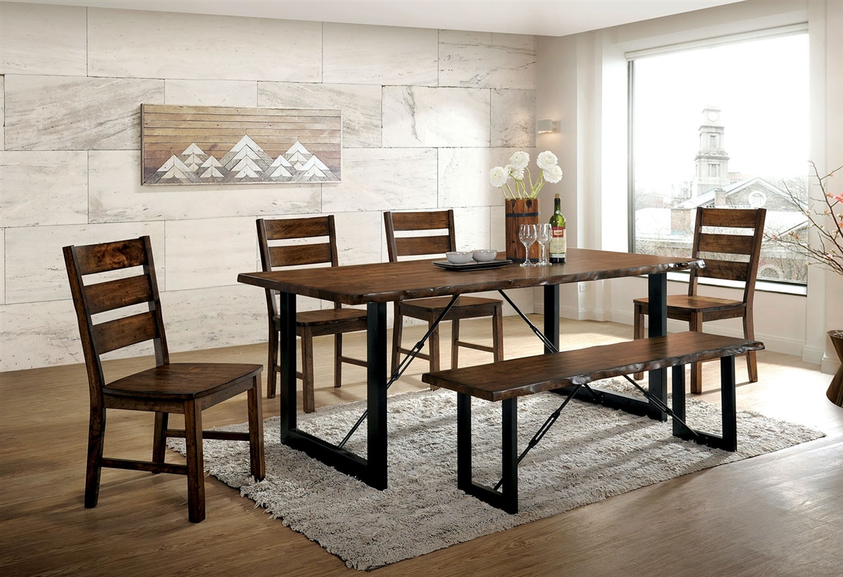Picture of: Dulce Rustic Industrial 6 Piece Live Edge Dining Set