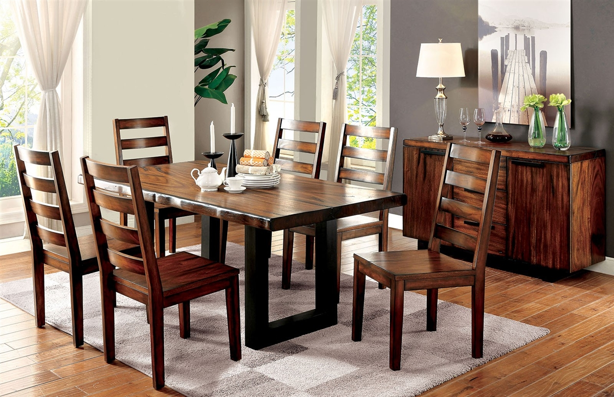 Rustic Style Dining Set With Live Edge Table In Oak Finish Cm3606