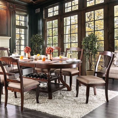 Traditional Brown Cherry Finish Oval Dining Set