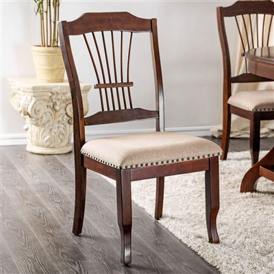 Jordyn Brown Cherry Finish Slat Back Side Chair (Set of 2 Chairs)