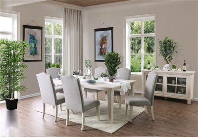Antique White Dining Table with Grey Upholstered Chairs