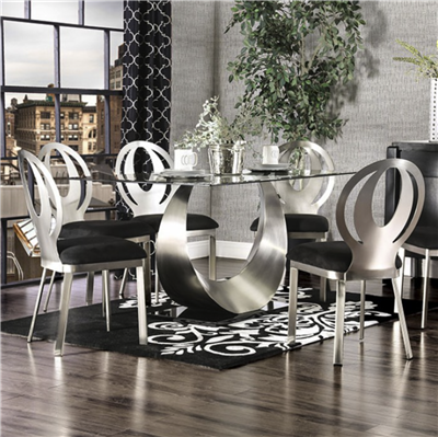 Silver & Black Finish Crescent Shape 7 Piece Dining Set