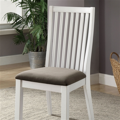 Country Style White Slat Back Dining Side Chair