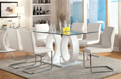 Lodia Modern White Double Pedestal Circlet Design Dining Set
