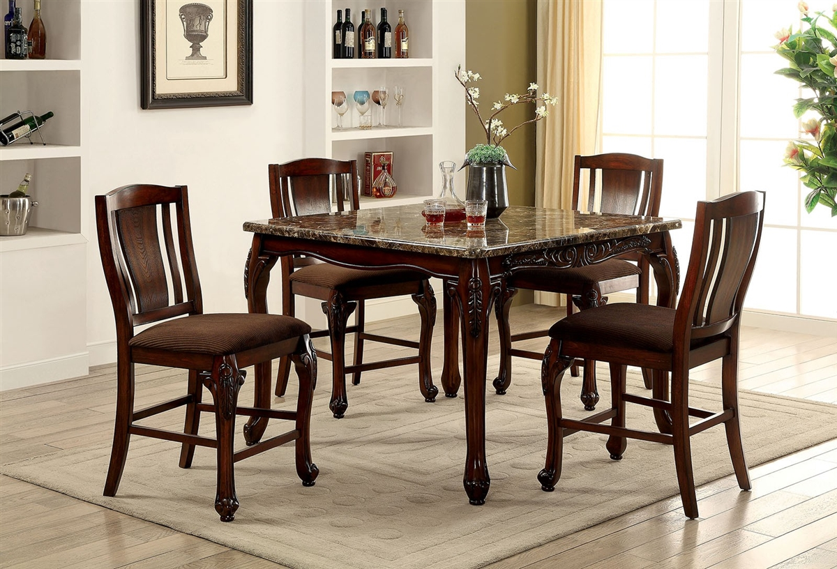 Johannesburg 9 Piece Counter Height Dining Set w/ Faux Marble Top