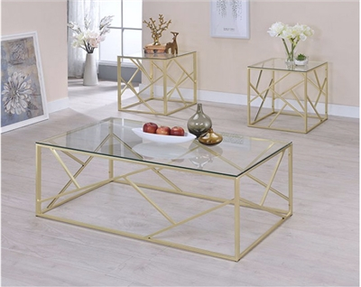 Contemporary 3 Piece Gold Coffee & End Table Set