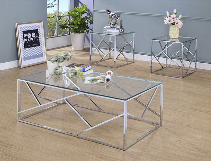 Pamplona 3 Piece Chrome Finish Coffee & End Table Set
