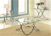 Modern Square Glass & Chrome 3 Piece Accent Table Set