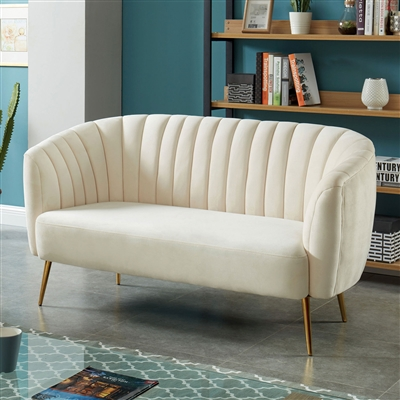 Dionne Plush Upholstered Seashell Loveseat Bench
