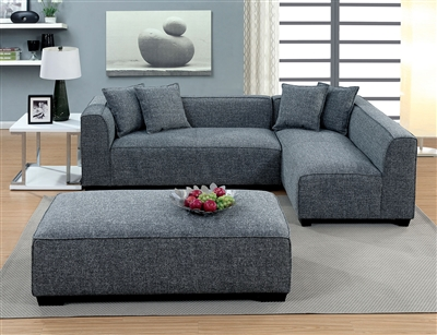 Jaylene Contemporary Gray Upholstered Sectional