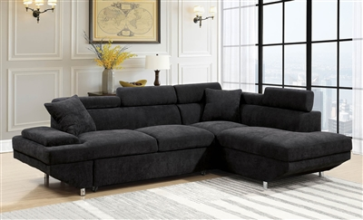 Modern black flannelette upholstered sectional