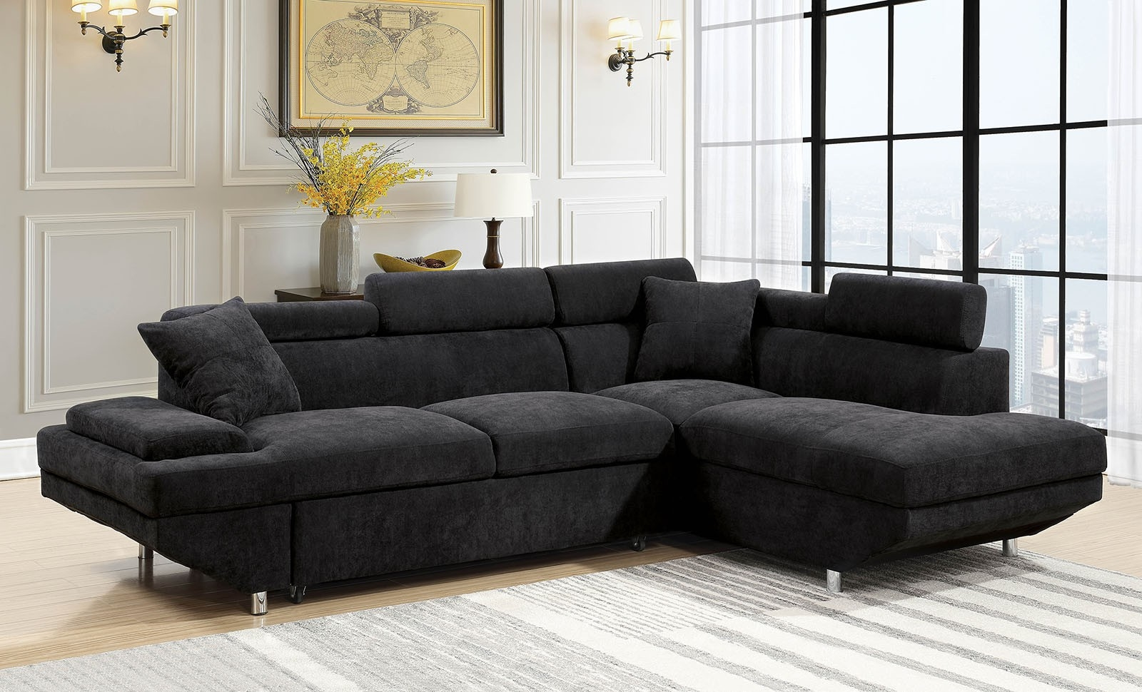 Foreman Plush Black Sectional W Pull Out Sleeper