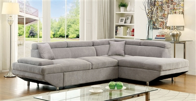 Modern gray flannelette upholstered sectional