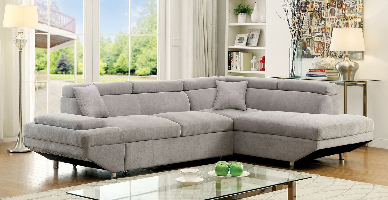 Foreman Plush Grey Sectional W Pull Out Sleeper