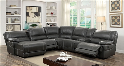 Estrella Gray Leatherette Reclining Sectional