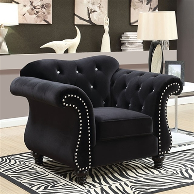 Jolanda Glam Style Black Button Tufted Flannelette Chair