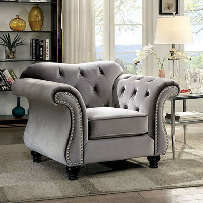 Jolanda Glam Style Grey Button Tufted Flannelette Chair