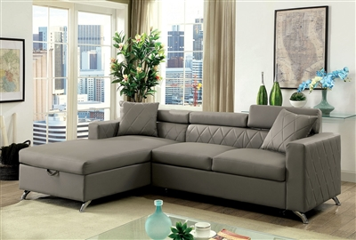 Dayna Contemporary Gray Leatherette Sleeper Sectional