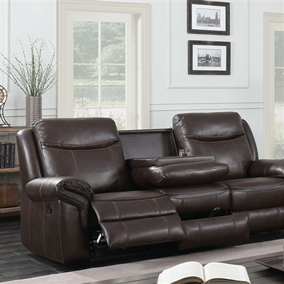 Transitional Style Brown Leather Gel Reclining Sofa