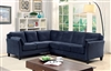 Contemporary blue flannelette upholstered sectional