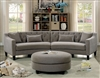 Contemporary Grey Upholstered Sectional with Rounded Design