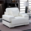 Zibak Ultra Modern Bright White Leather Chair with Chrome Accents & Feet