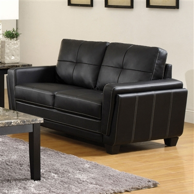 Contemporary Black Leatherette Loveseat With White Stitching