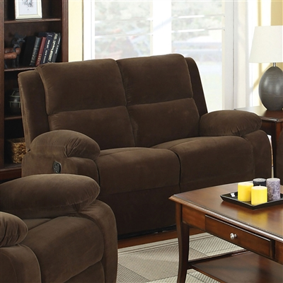 Plush Brown Flannelette Reclining Loveseat