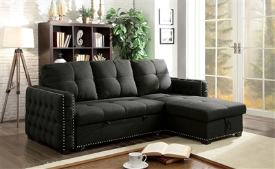 Demi Contemporary Black Sleeper Sectional