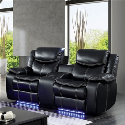 Black Power Reclining Loveseat w/ Blue LED Lighting