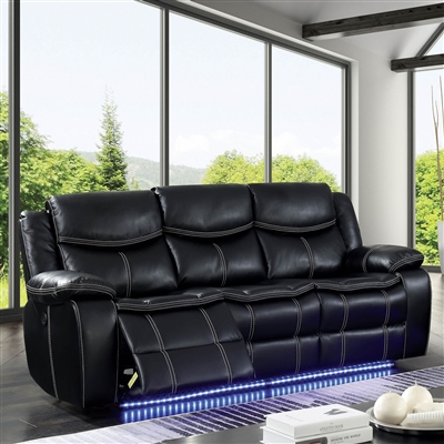 Black Power Reclining Sofa w/ Blue LED Lighting