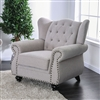 Light Grey Button Tufted High Wing-Back Chair