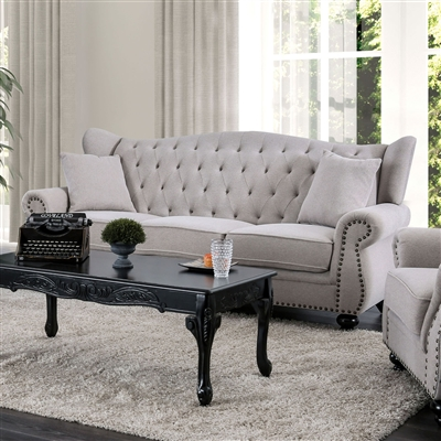 Light Grey Button Tufted High Wing-Back Sofa