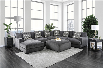 Contemporary Gray Fabric Upholstered Large Scale U Shape Sectional