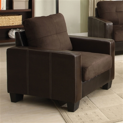 Chocolate Microfiber Upholstered Chair