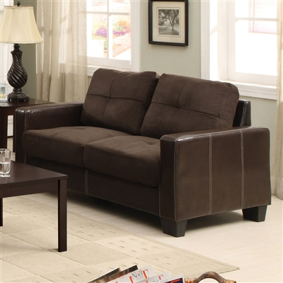 Chocolate Microfiber Upholstered Loveseat