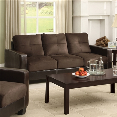 Chocolate Microfiber Upholstered Sofa