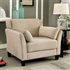 Contemporary Beige Flannelette Upholstered Chair