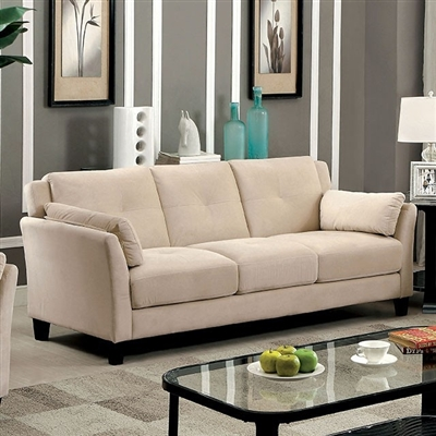 Contemporary Beige Flannelette Upholstered Sofa