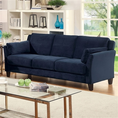 Contemporary Blue Flannelette Upholstered Sofa
