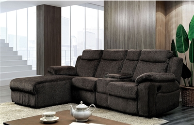 Dark Grey Linen Sectional with Push Back Chaise Lounge & Cup Holders