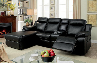 Hardy Black Leatherette Reclining Sectional