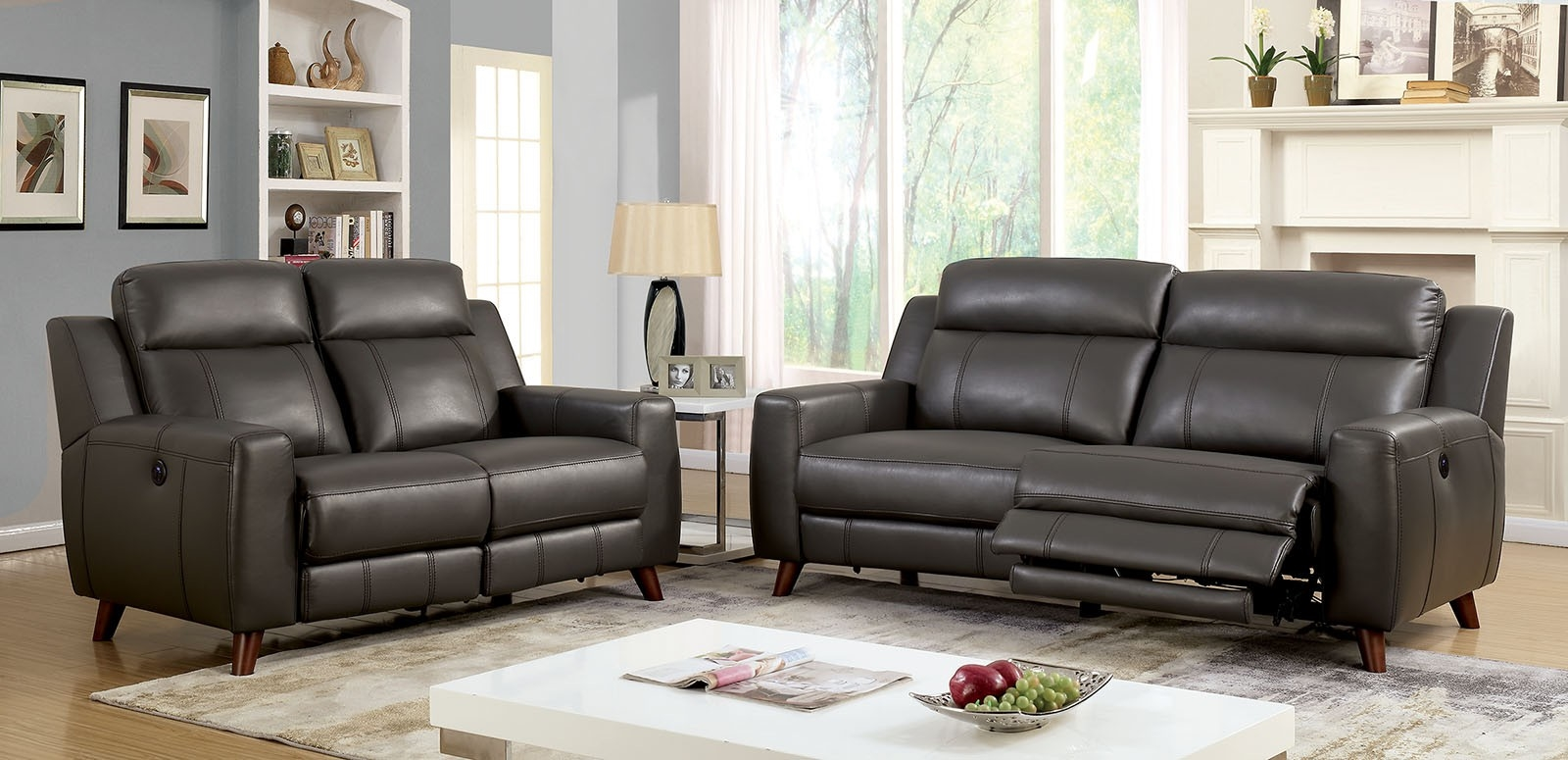 Picture of: Rosalynn Mid Century Modern Style Grey Leatherette Reclining Sofa By Furniture Of America