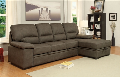 Brown Leatherette Sleeper Sectional