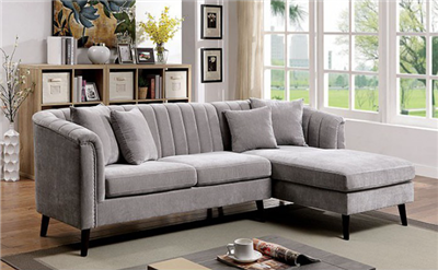 Grey Chenille Chesterfield Style Sectional